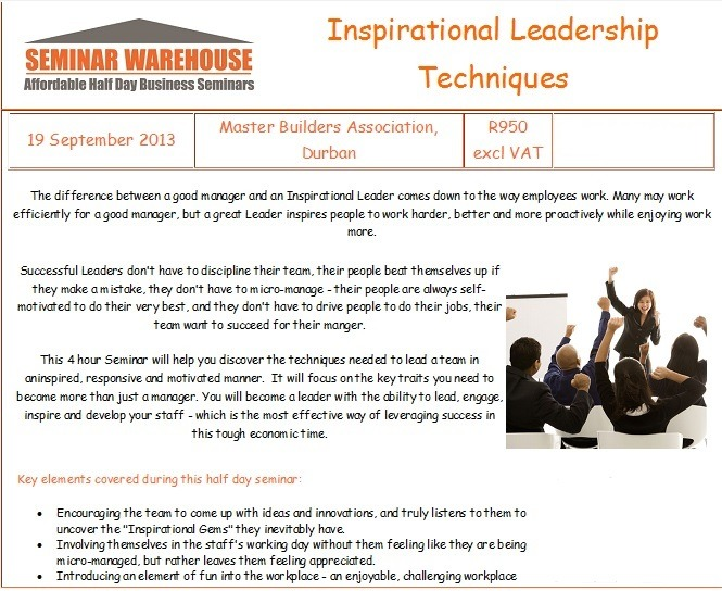 Leadership Seminar Advert Sept 2013b