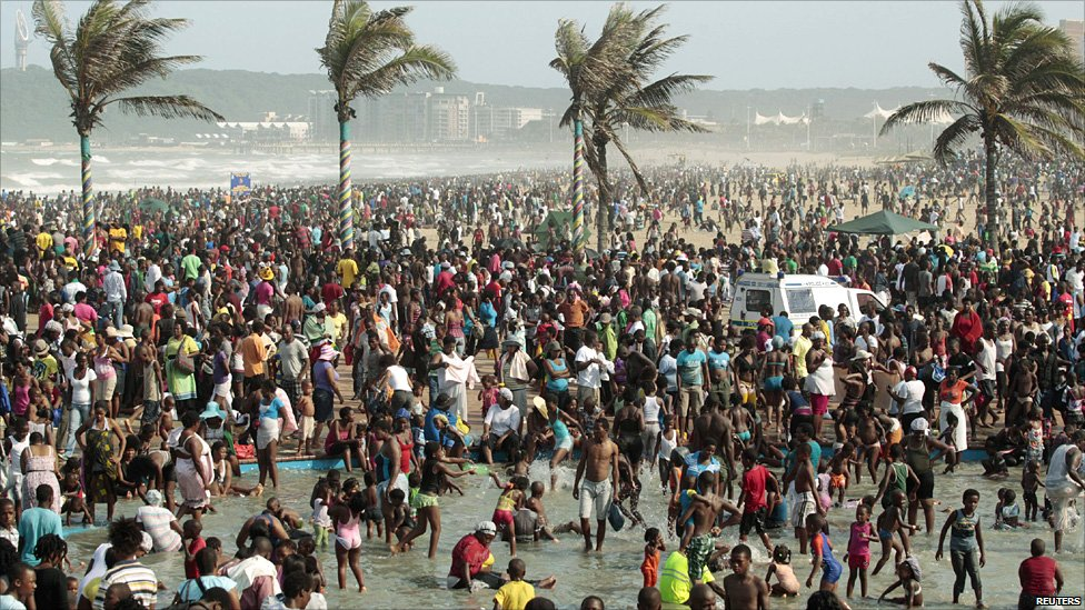 Durban beach crowds